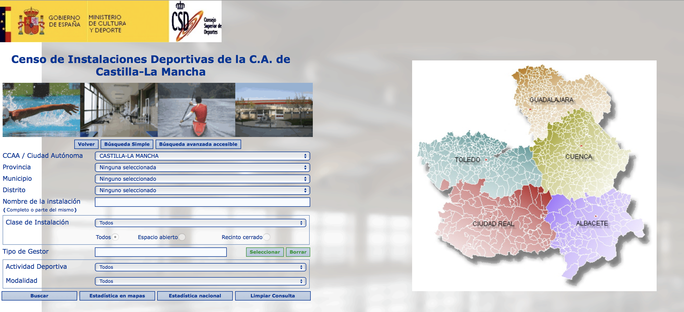 Censo de Instalaciones Deportivas en CLM, del Consejo Superior de Deportes.