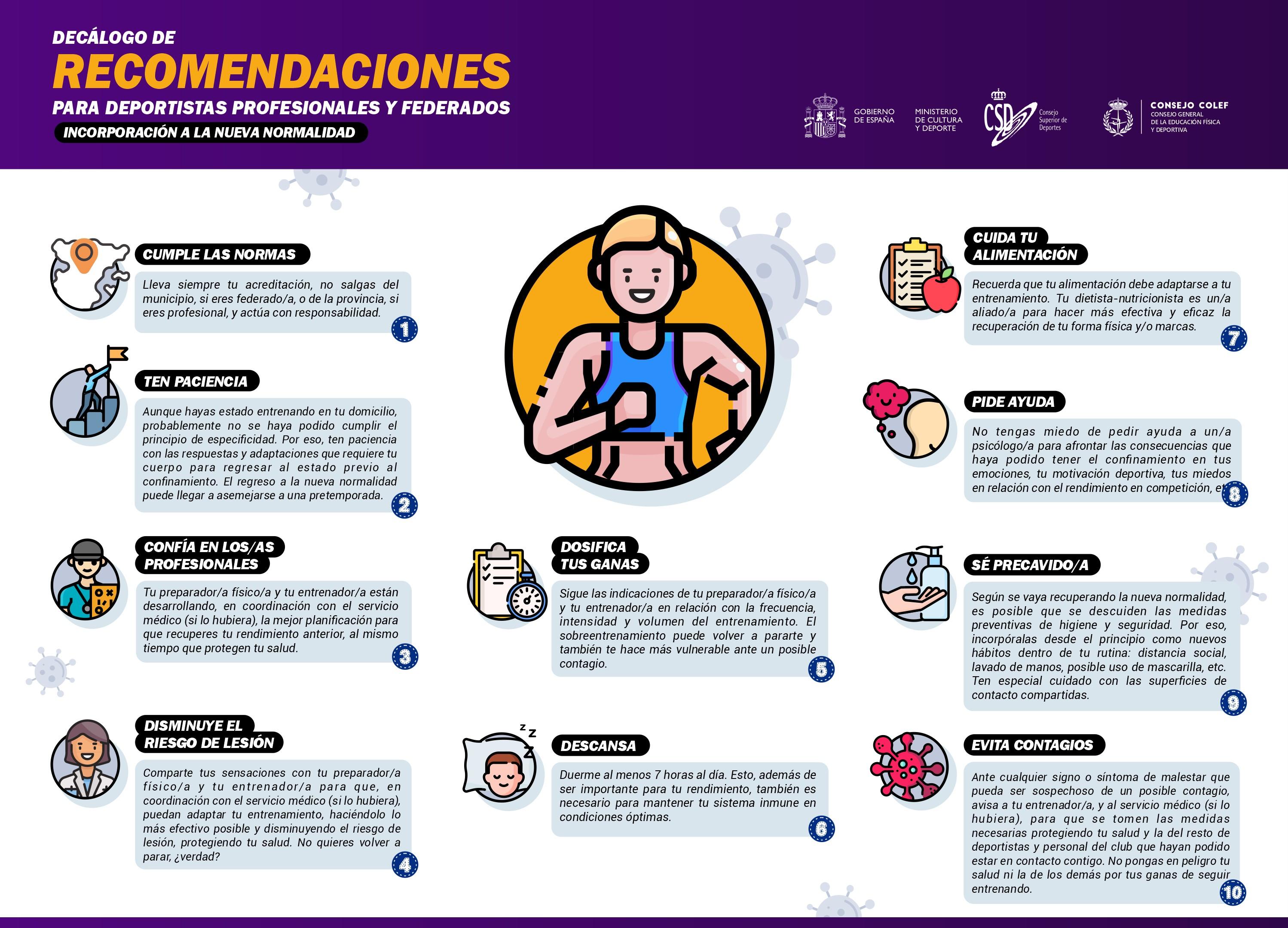 Decálogo de recomendaciones para deportistas profesionales y federados