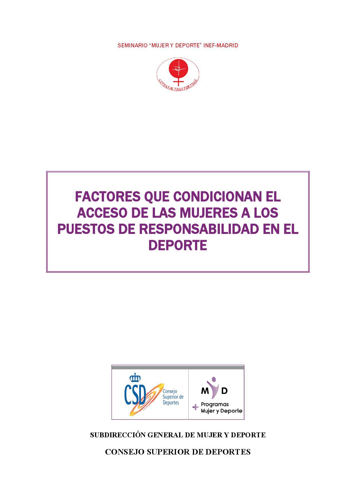 Factores que condicionan el acceso de las mujeres a los puestos de responsabilidad en el deporte - NIPO