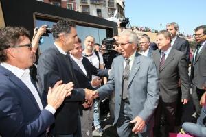 Inauguración estatua Bahamontes, con Miguel Indurain y Perico Delgado