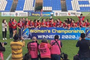 Celebración de la Selección Española de Rugby al final del partido.