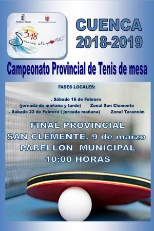 Cartel Campeonato Provincial de Tenis de Mesa. Cuenca 2019.