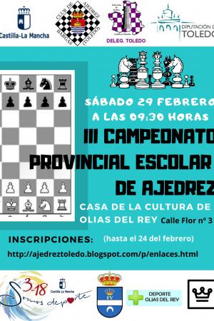 Cartel Promoción Deportiva III Campeonato Provincial Escolar de Ajedrez